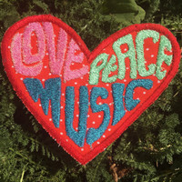 Love, Peace & Music handmade heart patch, iron on, rock and roll, hippie, boho, festival, upcycled, recycled, eco