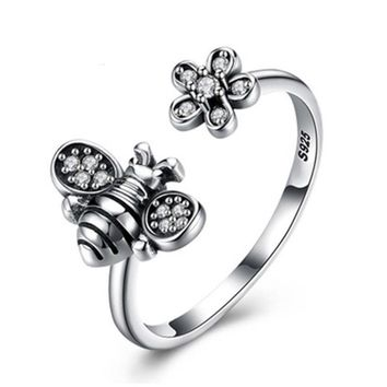 Retro Style Distinctive Bee And Flower Cool Elegant Adjustable Ring Jewelry JZ94