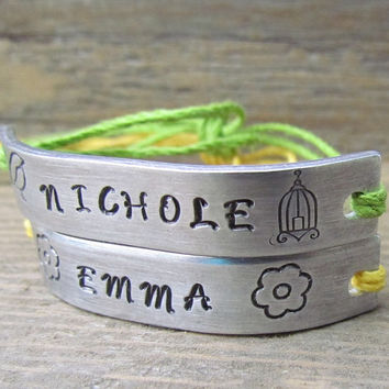 BFF Set of 2 NAMES Friendship Bracelets Custom Hand Stamped Name Tie On Hemp Cord Girls Bracelet