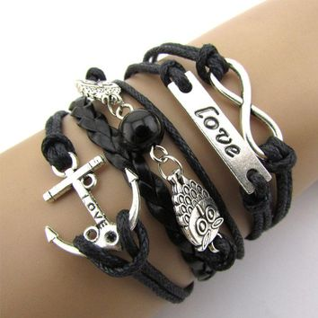 Exquisite Infinity Owl Love Anchor Friendship Leather Charm Bracelet