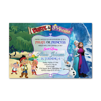 Pirate and Princess Kids Birthday Invitation Party Design