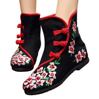 Vintage Beijing Cloth Shoes Embroidered Boots 12-02   black  35