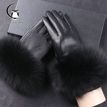 women new dress show autumn winter arrived high grade fashion soft leather warm thick real fox fur gloves mittens top kid gloves