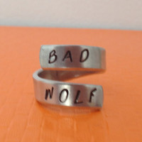 Bad Wolf - Doctor Who Inspired - Adjustable Aluminum Wrap Ring II