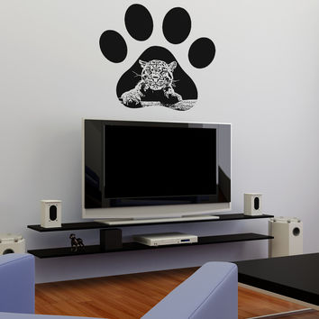 Vinyl Wall Decal Sticker Leopard Paw Print #OS_AA655