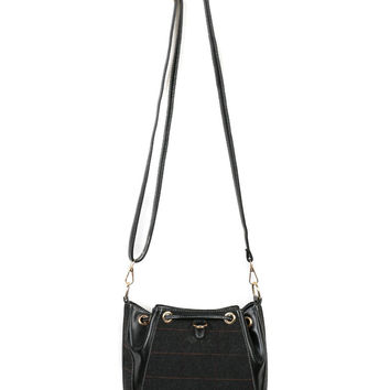 Black Plaid PU Panel Drawstring Detail Crossbody Bag