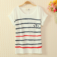 Navy Style Cute Strips T-shirt