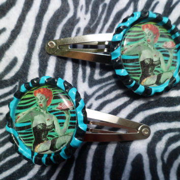 Pinup Zombie bottle cap barrettes SALE