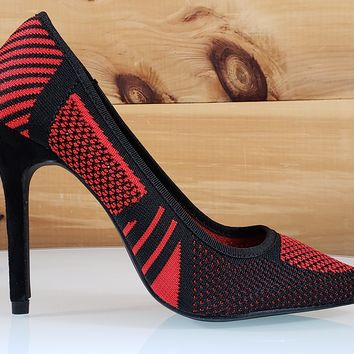 Kitana Black Red Knit Pointy Toe Pump High Heel Shoe