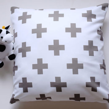 Swiss Cross in Grey and White Pillow Covers, Plus Sign Pattern Pillow Cover, Throw Pillow, Toss Pillow, Sofa Pillow