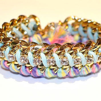 Rhinestone Wrapped with Baby Blue Suede and Braided Pastel Friendship Gold Chain Bracelet
