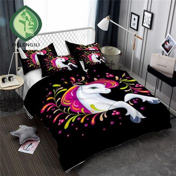 HELENGILI 3D Bedding Set Unicorn Print Duvet cover set lifelike bedclothes with pillowcase bed set home Textiles #DJS-12