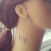 Spiked Ear Wrap - Silver plated chain