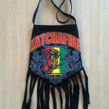 KATCHAFIRE - Upcycled Rock T-Shirt Fringe Purse - ooaK