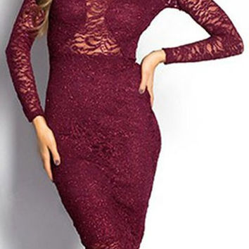 Claret Long Sleeve Lace Bodycon Dress