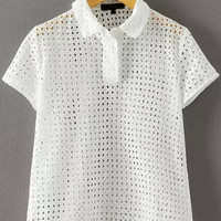 White Lapel Short Sleeve Grid Cut-Out Detailed Top