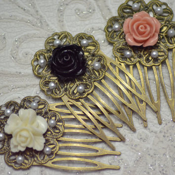 PAIR OF PURPLE ROSE ON BLACK CAMEO BRONZE FILIGREE HAIR COMBS VICTORIAN