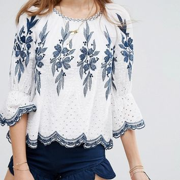 Moon River Embroidered Top at asos.com