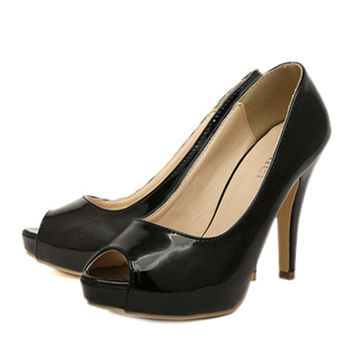 Thin Shoes High Heel Peep-toe   black