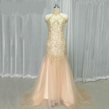 Mermaid Prom Dresses Long Halter Gold Lace Prom Dress Gowns