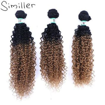 PEAP78W Similler Ombre Black T 27 Heat Resistant Synthetic Hair Weft Bundles Curly Weaving Hairpiece For Women Extensions 210g