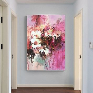Flower oil painting Original palette knife white canvas Painting Wall Art wall Pictures for living room Home Decor quadro caudros decoracion