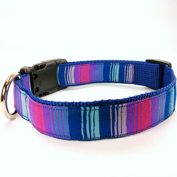 Blue Purple & Pink Striped Ombre Dog Collar