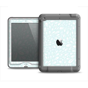 The Light Teal Blue & White Floral Sprout Apple iPad Air LifeProof Nuud Case Skin Set