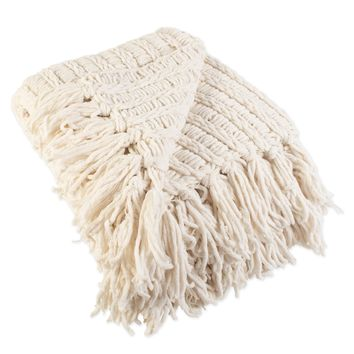 Luxury Chenille Knitted Throw Blanket with Fringe