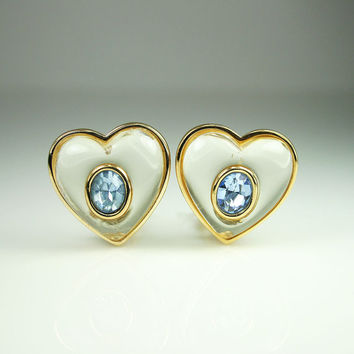 Vintage Givenchy Earrings Lucite Rhinestone Heart Shape Statement Jewelry