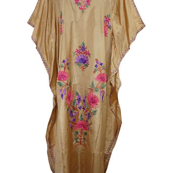 Boho Silk Kaftan Kashmiri Embroidered Gold Caftan Lounger Kimono Dress