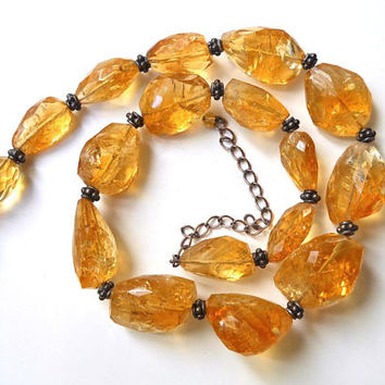 Citrine Sterling Silver Necklace, Natural Free Form, Graduated Strand, Faceted Vintage Beads