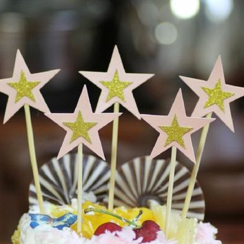 cake toppers gliter star paper cards banner for fruit Cupcake Wrapper Baking Cup birthday tea party wedding decoration Wh