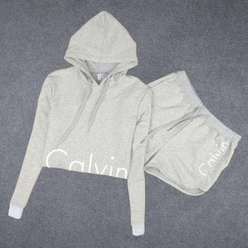 DCCKB62 Calvin Klein' Hoodie Long-Sleeved Two-Piece Shorts