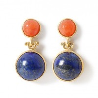 Tiklari Orange/Indigo 'Ekin' Earrings