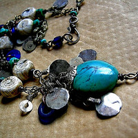 Turquoise & Cobalt Necklace .Kuchi Charms .Antique African Glass .Tribal Gypsy Boho