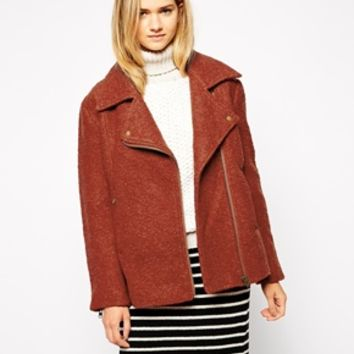Ganni Collared Wool Mix Biker Jacket - Bossa nova