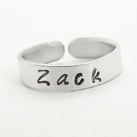 Name ring - Personalized name ring - Mommy ring - Stamped silver-tone aluminum sweetheart ring
