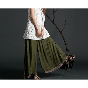 New spring summer Women's cotton loose wide leg casual pants  elastic waist cotton linen  Female Trousers 85156