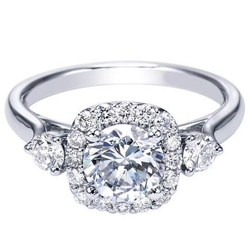 "Gabriel ""Martine"" Cushion Halo Diamond Halo Engagement Ring"