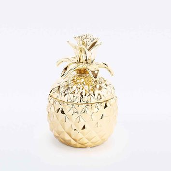 Large Pineapple Jewellery Box in Gold - Urban Outfitters