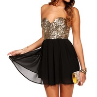 Black/Gold Strapless Sequin Tunic