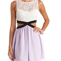 Color Block Cut-Out Skater Dress by Charlotte Russe - Lavender Combo