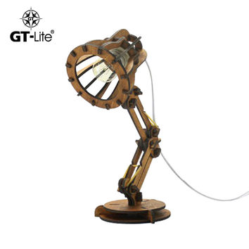 GT-Lite Wooden Table Lamp,Pixer Europe Loft Style,Wrought Iron Rotatable Art Fold Bedside Light Bedroom GTTL16