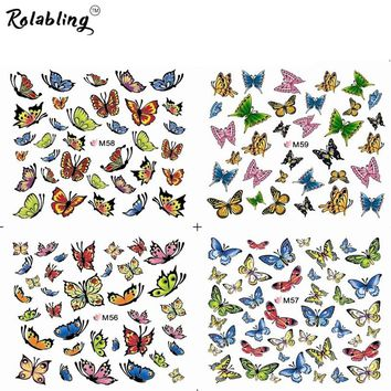 Colorful Butterflies Water Transfer Nail Sticker Colorful Design For Nails Art Water Transfer Stickers Slider Design