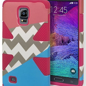 Samsung Galaxy Note 4, Hybrid   Pink Silicone with Tri Color Case