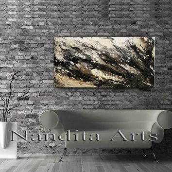 "Acrylic Abstract Wall Art Framed Canvas Art, Gray Brown Fluid painting original Large Painting by Nandita Albright 48x24""/122cmx61cm"