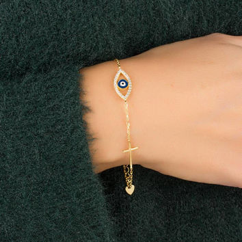 Evil Eye Cross bracelet • Gold Evil Eye bracelet • Christening Gift • Gold sideways cross bracelet • Layered bracelet• Gold bracelet •0092BM