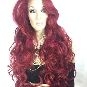 Rose Burgandy Curly Lace Front Wig 22""