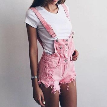 2018 Casual jeans overalls Summer rompers Womens pink playsuits Fashion Denim overalls Femme Hole bottom jeans shorts